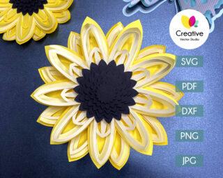 3D sunflower svg