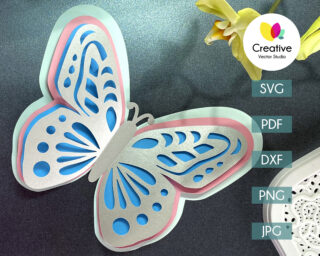 3D Paper Butterfly svg cutting template for Cricut, Silhouette