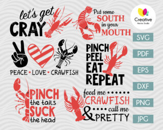 Crawfish SVG Bundle with Quotes
