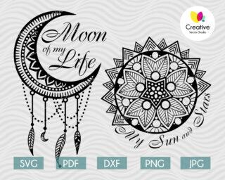 Moon of My Life, My Sun and Stars Mandala Couple Design SVG