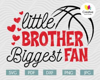 Little Brother Biggest Fan svg, Basketbal Fan svg
