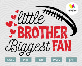 Little Brother Biggest Fan svg, Football Fan svg