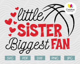 Little Sister Biggest Fan svg, Basketball Fan svg