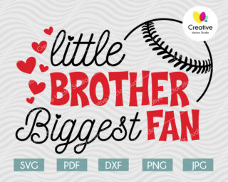 Little Brother Biggest Fan svg, Baseball Fan svg