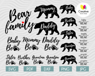 Bear Family svg file for Cricut and Silhouette projects