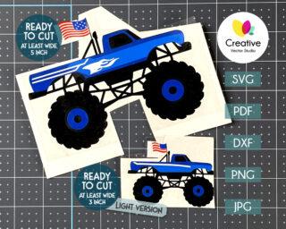 Patriotic Monster Truck SVG