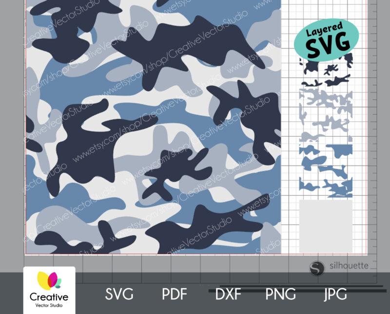 Blue Camouflage Seamless SVG Pattern
