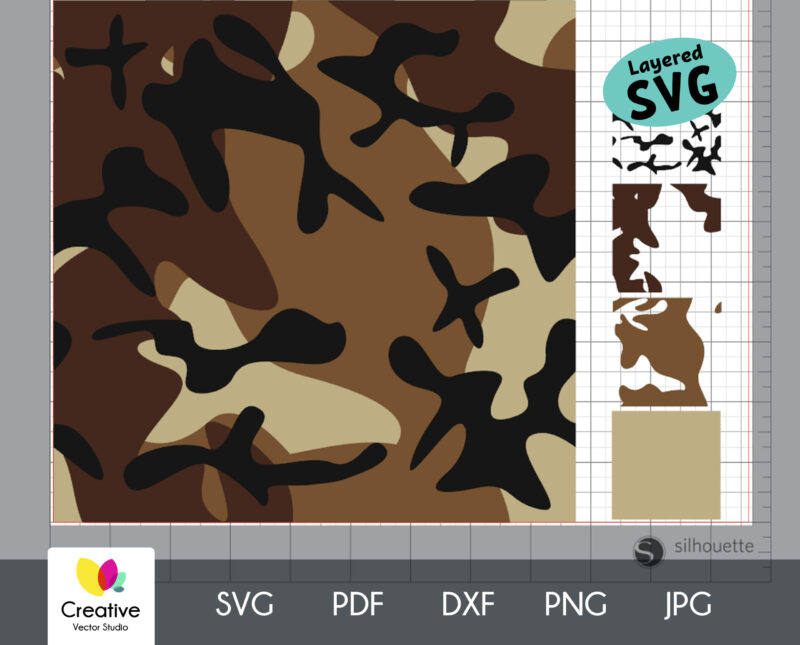 Brown Camouflage Seamless SVG Pattern