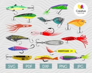 colorful fishing lure set svg