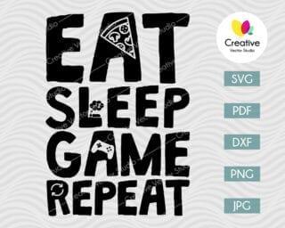 eat sleep game repeat svg