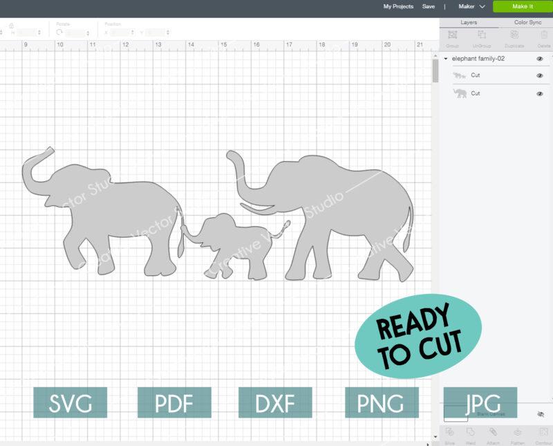 elephants family svg