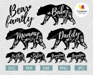 Floral Bear Family svg