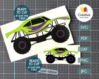 green monster truck svg