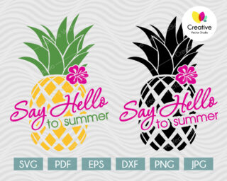 Hello Summer Pineapple SVG
