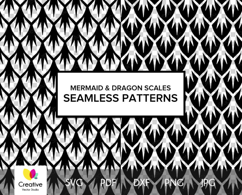 Mermaid Scales svg, Dragon Scales svg, Vector Seamless Scales Patterns