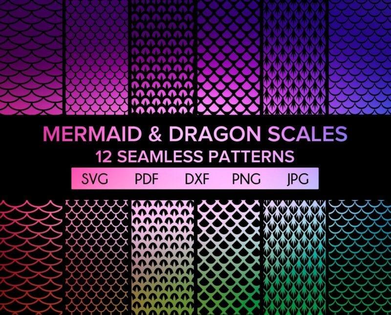 Mermaid and Dragon Scales SVG Bundle