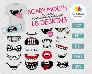 Scary Mouth SVG Bundle Face Mask Pattern