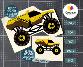 Yellow Monster Truck svg