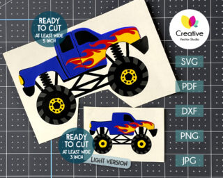 Monster Truck with Flames SVG