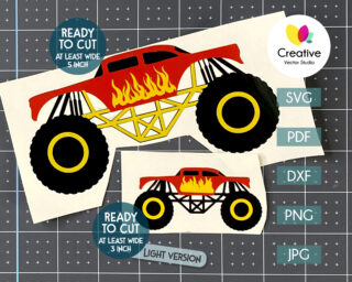 red monster truck svg with flame