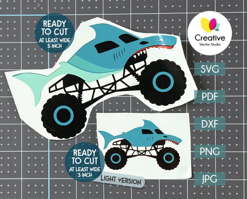 shark monster truck svg