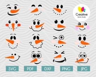 Snowman face svg bundle
