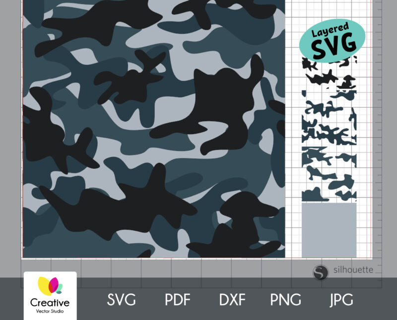 Turquoise Camouflage Seamless SVG Pattern