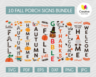 Fall Porch Sign Bundle SVG Cut Files, For Personal and Commercial Use, designed on 10 x 50 Media