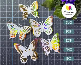 3D Butterfly Cutting Template SVG Bundle