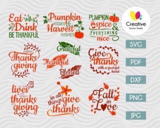 Thanksgiving bundle SVG Cut Files for Cricut & Silhouette