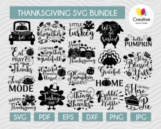 Thanksgiving SVG Bundle, SVG Cut Files for Cricut, Silhouette