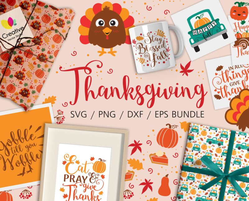 fall and thanksgiving svg bundle