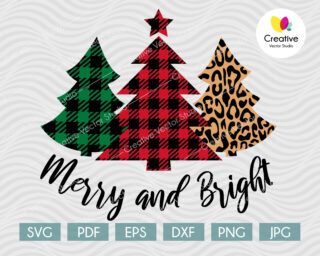Merry and Bright Plaid Trees Christmas SVG design is perfect for any christmas crafts