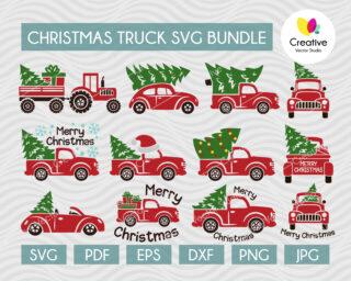 Christmas red tree truck svg bundle