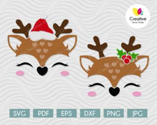 reindeer face svg cut files