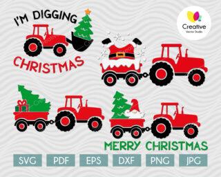 Christmas tractor svg bundle