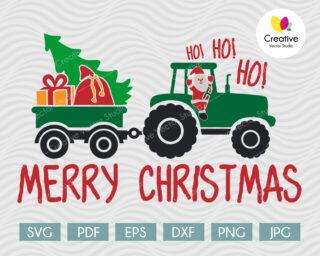 Christmas Tractor svg design