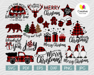 Christmas svg, Buffalo Plaid svg, svg cut files for Cricut, Silhouette
