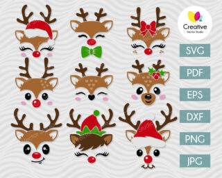 Christmas reindeer face svg cut files