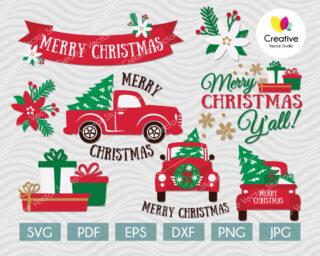 Christmas tree truck svg bundle