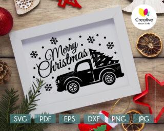 Christmas tree truck svg
