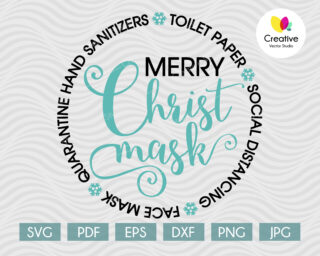 Merry Christ mask svg file for Cricut and Silhouette projects