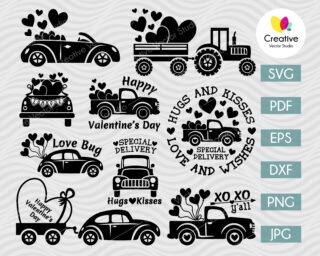 valentine truck svg bundle