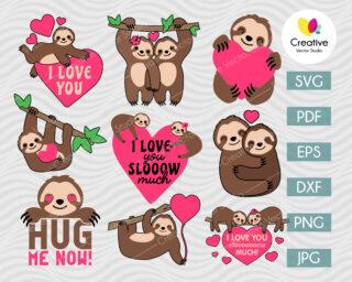 Sloth SVG Bundle Valentine's Day