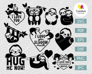 Valentine Sloth SVG Bundle