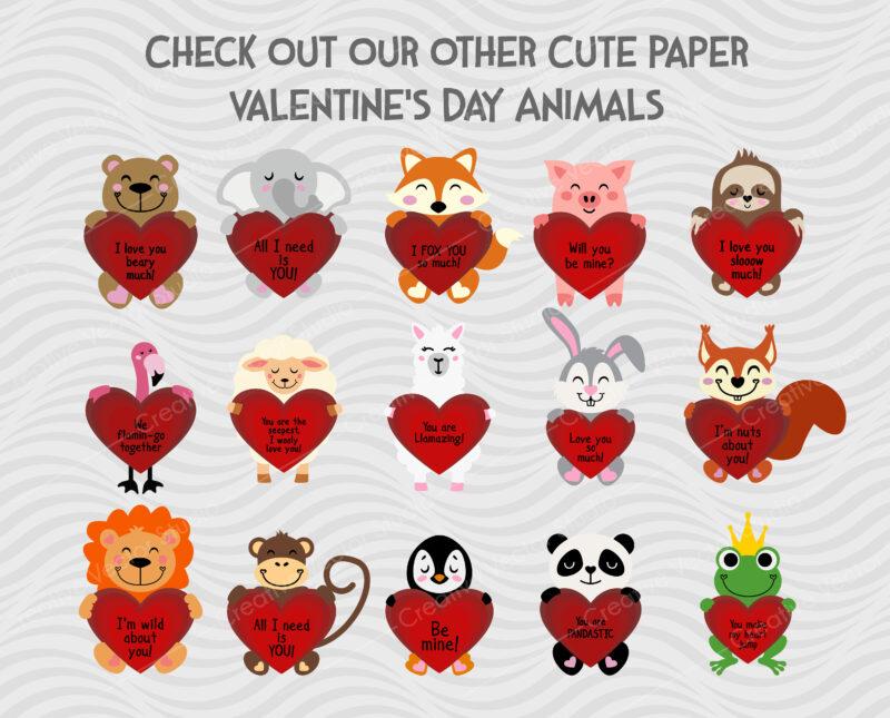 paper valentines animals svg
