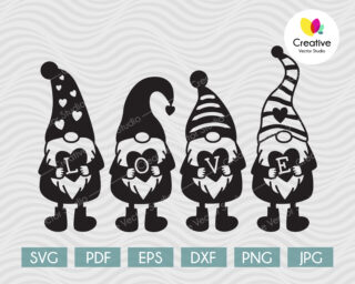 Cute Gnomes With Hearts SVG