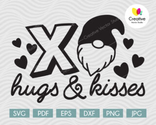 Hugs and Kisses SVG Valentine's Gnome