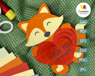 valentines fox svg