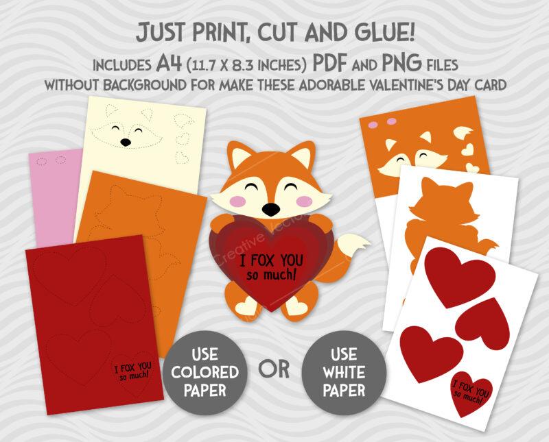 paper valentine fox svg